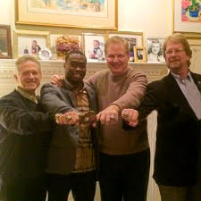Walter, third from left, in 2014, at his Rabbit Hill home reception for Brandin Cooks, Biletnikoff Award winner.